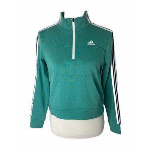 ~Women's size XS adidas 1/4 zip green sweatshirt